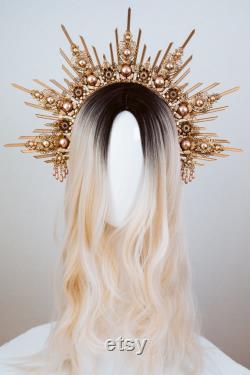 Dust Pink Halo Crown, Halo, Halo Crown, Halo Headpiece, Halo Headband, Halo Headlights, Crown, Gold Halo, Headpiece, Wedding Crown, Bandeau