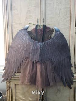 Enfant Jeune Maléfique Inspiré Costume complet comprend Horns Wings Robe Accessoires filles taille filles costume maléfique
