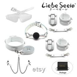 Ensemble BDSM en cuir blanc véritable-Col avec laisse-Menottes-Poignets à la cheville-Pinces à tétons-Bâillon en silicone-Les yeux bandés