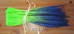 Ensemble de 50 DE Neon Green et Dark Blue Wool Dreads, Reusable Braid In Dread Extensions. 20 22e' Double Ended (40 44'' Total).