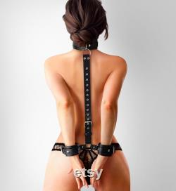 Ensemble de bondage BDSM, contraintes de luxe, ensemble de bondage, bondage en cuir, menottes BDSM, poignets de cuisse, poignets de bondage, équipement BDSM