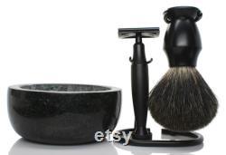 Ensemble de rasage d édition noire Maison lambert stand, rasoir de sécurité, brosse à raser de blaireau et bol à raser de marbre fête des pères