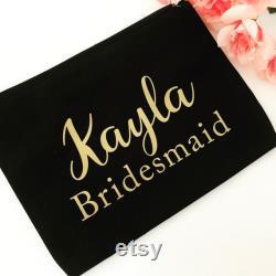 Ensemble personnalisé de sac de maquillage de 9 cadeau de demoiselle d'honneur personnalisé sac de demoiselle d'honneur Maid of Honor Gift Bag Bridal Party Gift Bag Make Up Bag