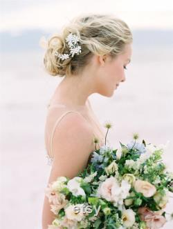 Épingle à cheveux de mariée floral en argent, cristal mariage parure de tête, épingle à cheveux mariage Ivoire moderne, Juliette Cap voile-style 506