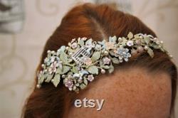 Floral Bridal hairband, diadème floral, accessoires de cheveux de mariage, accessoires de cheveux de mariée, casque, bande de cheveux diadème de printemps, diadème de fleur
