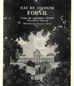 Forvil, Chypre, 240 ml. ou 8 oz Flacon, Eau de Cologne, 1911, Paris, France .