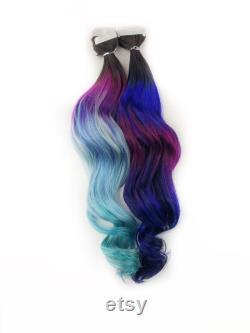Galaxy ombré tape ins, couleurs gemmes sous-claires, ombré bleu et violet, cheveux sombres de balayage espace racine, clip dans les cheveux, 1b bande de base ins