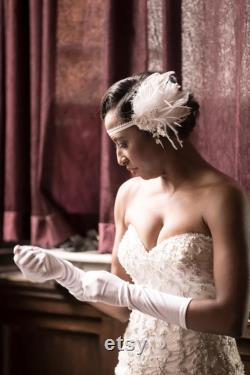 Gatsby le magnifique-esque Vintage Style plume Art déco Gatsby le magnifique bandeau de mariage-clapet, mariage accessoire, bandeau, mariée, fait à la main