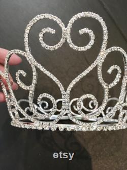 Grand coeur plein mariée couronne mariage Diamante cristal strass Tiara peigne de mariée parti clair cristal Royal mariage