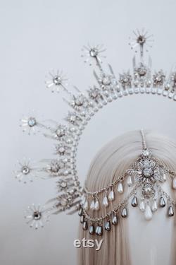Halo Crown, Silver Halo Headband, Halo, Halo Headpiece, Crown, Headband, Headpiece, Boho Wedding, Wedding Halo crown, Silver tiara, Crown