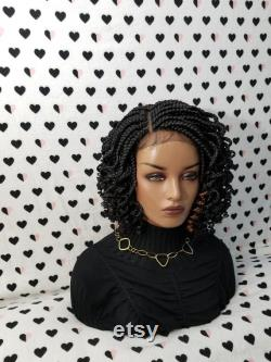 Handmade Box Tressed Lace Front Wig With Curly Ends Color 1b Black And 30 Highlights