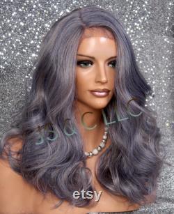 Heather violet Gris Partie côté mixte Cheveux humains Mélange Dentelle Perruque avant BABY HAIR Long Ondulé Plein Corps Cancer Alopécie Theathrical Anime JNC