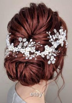 KAIA France Vigne de cheveux de mariage de cristal et de perles, accessoire floral inspiré de cheveux, vigne de cheveux de mariée perlée