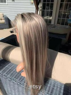 Luxe Dentelle Front Balayage Ash Blonde Brown Cheveux humains Full Lace Perruque Faits saillants