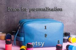 Maquillage organisateur-Leather cadeau idée-Voyage sac-Dopp kit-Mariage cadeau-Voyage cas avec 2 compartiments-Personalized cadeau-Cuir sac de maquillage