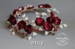 Mariée bordeaux couronne d or ceinture de mariage accessoire de la vigne bandeau marron rouge profond et or couronne de fleur STYLE Wendy