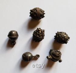 Maroc Berbère Amazigh Lot de 5 perles ornement de cheveux en argent Région Tata Sud- est Maroc
