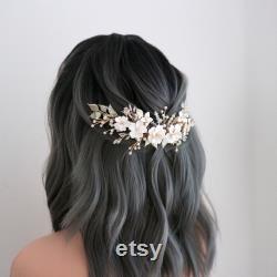 Masque de mariage floral blanc et argent, pièce de cheveux de mariée fleur d or et blanc, peigne de cheveux de déclaration pour voile de mariée