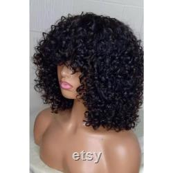 Meilleure qualité 180 Density Curly Brazilian Full Machine (No Lace) Human Hair Wigs With Bangs