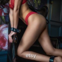 Menottes BDSM noires, menottes en cuir noir, menottes noires premium, manchettes Lux Bondage, poignets soumis, retenues en cuir, dominatrice