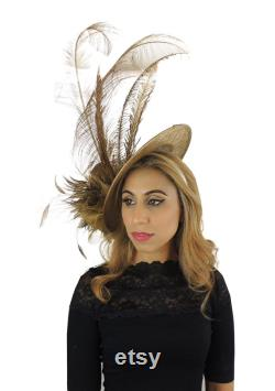 Metallic Gold Winnie Fascinator Hat for Weddings, Kentucky Derby With Headband (en 20 couleurs)