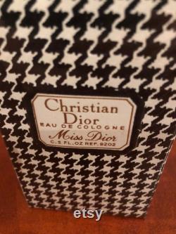 Miss Dior par Christian Dior Eau De Cologne EDC 60ml VINTAGE HOUNDSTOOTH années 1960 Flambant neuf dans la boîte enveloppée de cellophane