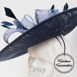 Navy Hatinator, Navy Hatinator avec détail argenté et diamante, Chapeau de mariage, Mère de la Mariée, Royal Ascot Hat, Ladies Day Hat