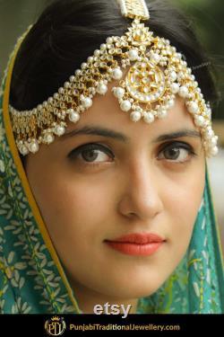 Or fini perle Kundan Matha Patti Bijoux traditionnels Punjabi Exclusive