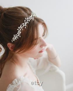 Pearl Vine Wedding Hair Vine, Floral Pearl Bridal Hair Vine, Ribbon Headband Halo, Pearl Rhinestone Headband, Delicate Floral Headband 3415
