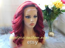 Perruque Ariel fait à la main personnalisé perruque Made à commande authentique brut cambodgien cheveux humains vierges custom teint d une couleur rouge perruque Duplication 14 pouces