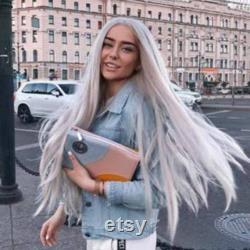 Perruque avant de dentelle de beauté blanche grise