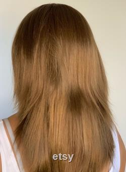 Perruque bandeau perruque queue de cheval , praline mix Swim Wigs With Échangeable Bands and free parting hair loss perruque perruque alopécie perte de cheveux