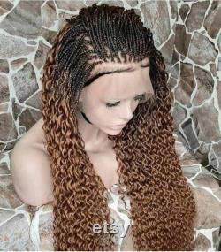 Perruque bouclée frontale, torsion et perte tresse sénégalaise, cheveux tressés, tresse nigériane de tresse de ligne de maïs, extension de cheveux, perruques frontales, tresse de couleur de mélange,