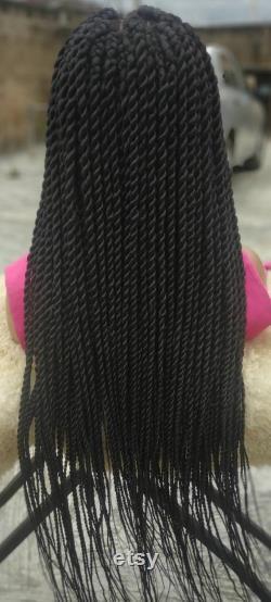 Perruque tressée, torsion midi, tresses, perruque de dentelle frontale 360, expédition libre
