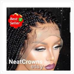 Prêt à expédier perruque moyenne tresses boîte sans n ud perruque pour les femmes noires cornrows perruque cornrow perruques faux locs dreadlocks dentelle perruque frontale tressé perruque