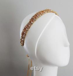 Prêt pour l expédition de mariage en or parure de mariage cristal bandeau casque ruban de satin vintage d inspiration art déco