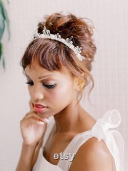 RAQUEL clair quartz edgy boho déclaration mariage couronne, cristal festival diadème de mariage
