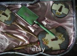 Rare Antique 18 Pièces Vanity Set Déco Miroir Brosse Nail Access In Original Box