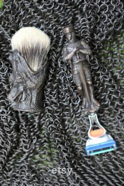 Rasoir en bronze massif et ensemble de brosse, main St George et la culture Dracon, cadeau pour l homme qui a tout
