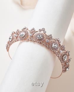 Rose Gold Bridal Tiara, Accessoire de cheveux de mariée, Royal Bridal Crown, Couronne de mariage d or, Tiara de mariage, Casque de mariée argentée TI-3286