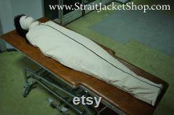 Sac de carrosserie Sleep Sack Bondage Momification de camisole de force BDSM Asile Retenue Verrouillé avec Zipper et Ceintures Médical Toile