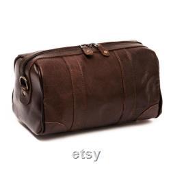 Sac de toilette en cuir plein grain, kit dopp en cuir pour hommes, cadeau personnalisé de groomsmen, sac en cuir monogramme, kit de rasage en cuir, cadeau pour hommes
