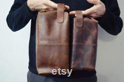 Sac en cuir personnalisé Dopp Kit, Distressed Full-Grain Leather Mens Travel Kit, Gift for Him Father Groomsmen Boyfriend Husband
