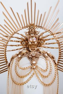 Skull Halo Crown, Halo, Halo Crown, Halo Headpiece, Halo Headband, Sugar skull, Crown, Gold Halo, Headpiece, Halloween crown, Headband, Gold