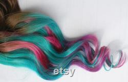 Teal Tye Dye Clip en Extensions de cheveux, cheveux dégradé, Tye Dye conseils, trames de cheveux, Extensions de cheveux humains, cheveux Hippie, Halloween, mariage paon