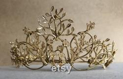 The VEDA Crown Rose Gold Organic Flower Leaf Tiara, Delicate Dainty Floral Leaves Prom Festival Bride Bridesmaid Pink