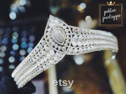 Tiara de mariée, Tiara de mariage de luxe, casque de mariée, platine plaqué cuivre, couvre-chef de mariage, casque de mariée, mariage Bridal Tiara