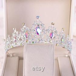Tiaras de mariage, Couronne d anniversaire, Casques nuptiaux, casques, coiffure AB, ALPENGLOW Rainbow TIARA