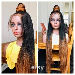 Tressée Perruque Ombre Noir Golden Brown Cornrows Hand Made Braided Braid Braid Wig Human Hair Frontal Cross Braid