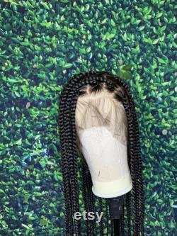 Tresses de boîte sans n uds longs moyens grands, cheveux humains de perruque pleine de dentelle